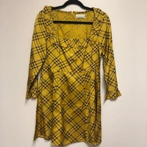 Vintage yellow and black checked dress